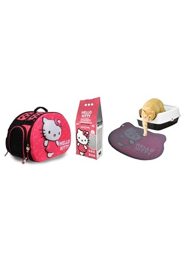 Hello Kitty HELLO KITTY 10L BEBEK PUDRASI KOKULU BENTONİT KEDİ KUMU + TAŞIMA ÇANTASI VE PASPAS Renkli